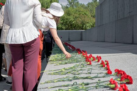 People put red carnations on the grave in a military cemetery. The memory of those killed in the war Foto de archivo - 133384155