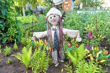 A funny scarecrow is standing in the garden in striped trousers and a tie with braided pigtails. Scarecrow for crop protection Foto de archivo - 133473474
