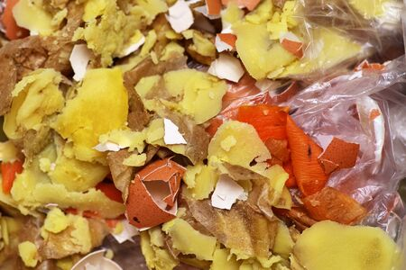 food waste and large debris. Top view texture and background