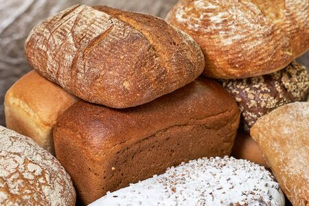 The snippet showcases the bread shops. Close-up. Delicious and healthy range of bakery and bakery Stockfoto