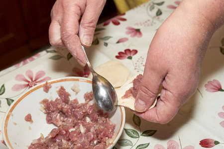 Hands put the minced meat in the raw dough with a spoon. Cooking homemade dumplings