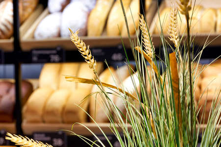 Spikelets of ripe wheat on blurred background of shelves with bread in bakery