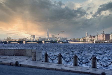 Palace Bridge on the Neva. Russia, St. Petersburg cityscape against the blue sky Reklamní fotografie