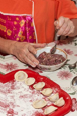A hand with a spoon mixes minced meat for making dumplings. Vertical shot Reklamní fotografie