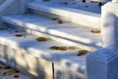 white marble steps with fallen yellow leaves. Autumn in the park