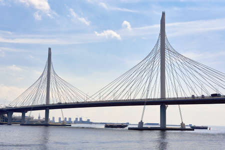Cable-stayed bridge over the Petrovsky fairway in St. Petersburg