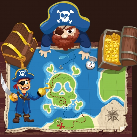The pirate looks at the map. Vector