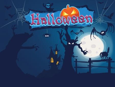Halloween in the dark forest.