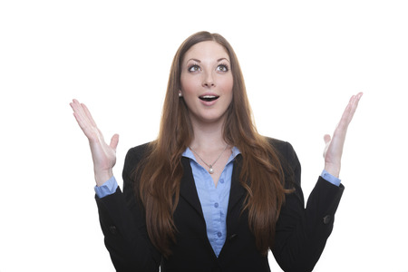 Happy woman raises her hands Banco de Imagens