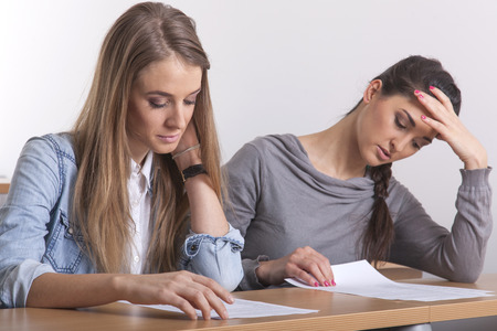 sorority: Two female student in the lecture hall learning their stuff