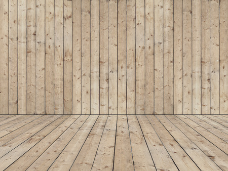 rough background: Room with wooden planked wall and flooring of rough sewed boards