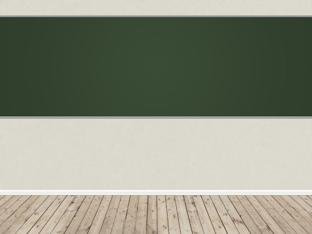 timbered: Empty room with plastered wall and a blackboard on it and timbered floor