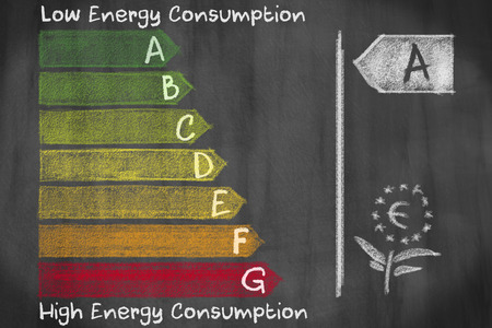energy consumption: European energy consumption efficieny classes from A to G drawed and written on a blackboard