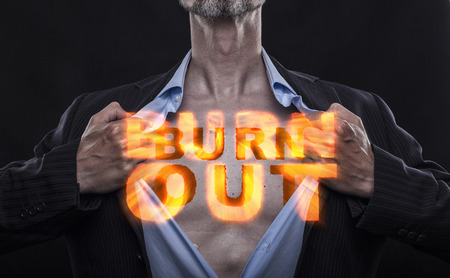 Overworked accountant tears off his shirt to let burst out the fire of his burn out