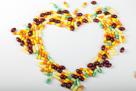 heart shape concept made of pills Stock Photo