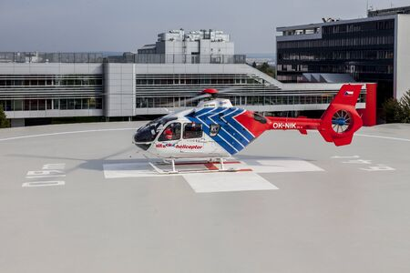 BRNO, CZECHIA, SEPT. 23RD, 2018 - During the official opening of the new heliport of the Faculty Hospital Brno Alfa Helicopter fly in with a new Eurocopter Rescue Helicopter
