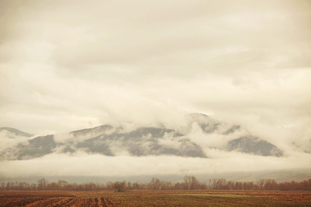 shrouded: Field with harvested crops and mountains shrouded in clouds in the background. Stock Photo