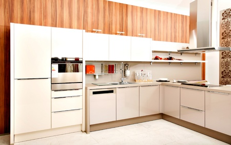 kitchen furniture: Modern kitchen design containing furniture, appliances and accessories. Editorial