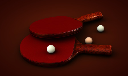 ping pong: Ping pong paddles and balls on a background Stock Photo