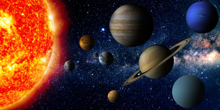 Solar system   The sun and nine planets of our system orbiting photo