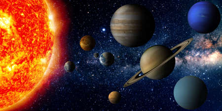 Solar system   The sun and nine planets of our system orbiting