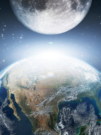 The moon orbit and rotating around the planet earth  photo