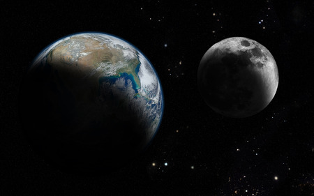 The moon orbit and rotating around the planet earth
