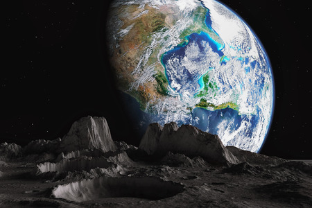View from The moon orbit and rotating around the planet earth photo