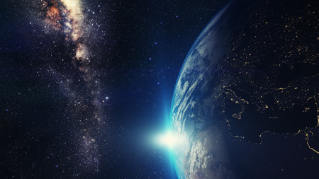 blue sunrise, view of earth from space with milky way galaxy Standard-Bild