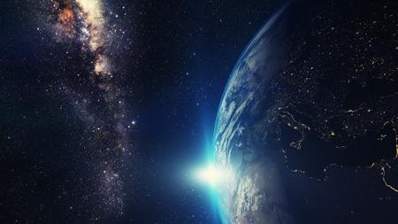 blauw zonsopgang, mening van aarde vanuit de ruimte met Melkwegstelsel