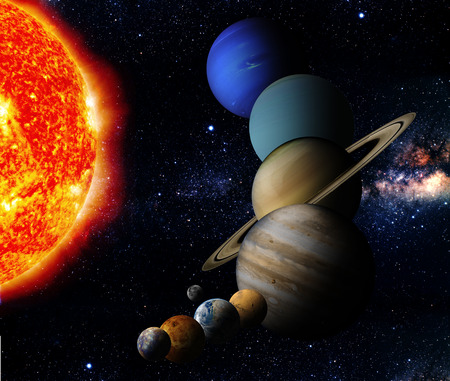The sun and nine planets of our system orbiting