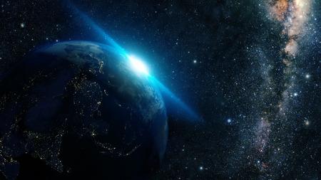 milky way: zonsopgang van de aarde vanuit de ruimte met de Melkweg