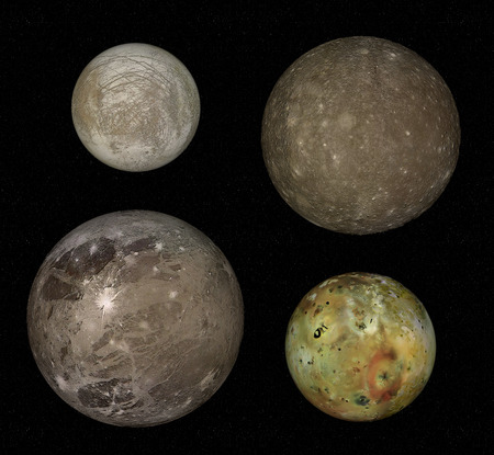 io: Jupiter and four biggest moons: Io, Europa, Callisto and Ganymede Stock Photo