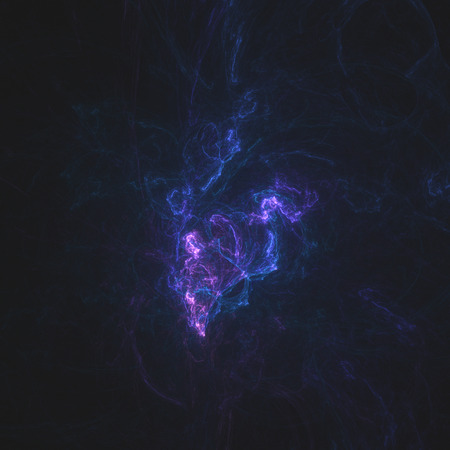 Abstract fractal consisting of glowing lines on a black background photo