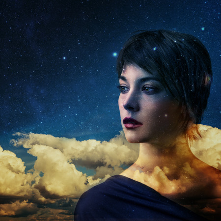high spirits: Creative double exposure portrait of young woman combined with space scene Stock Photo