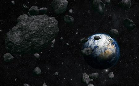 earth and meteorite Stock Photo