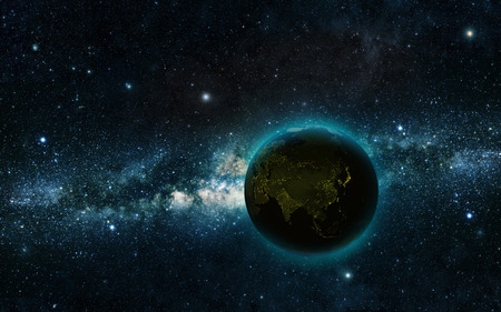 glowing earth: Planet earth at night with space background