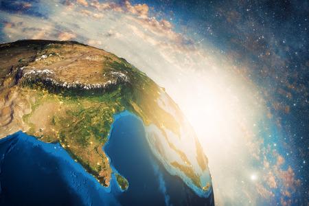 Gedetailleerde kleurrijke Aarde, zeer gedetailleerde aarde in de ochtend Stockfoto