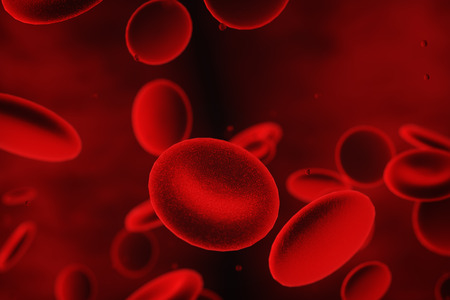 3d abstract red blood cells illustration, scientific or medical or microbiological background