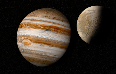 magnetosphere: jupiter and moon Stock Photo
