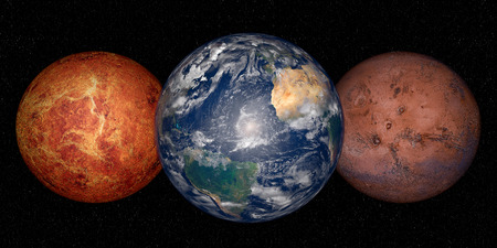 venus: Planet Earth, mars and venus on a space background Stock Photo