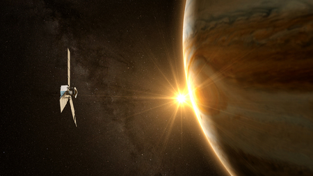 magnetosphere: jupiter and satellite juno with beautiful sunset. Stock Photo