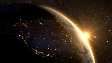 Planète Terre avec un lever de soleil spectaculaire, vue sur USA et au Canada