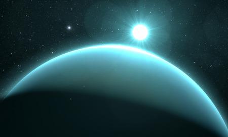 uranus: planet Uranus with sunrise on the space background
