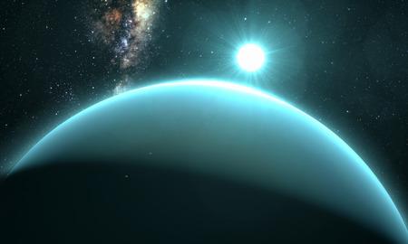 jupiter light: planet Uranus with sunrise on the space background