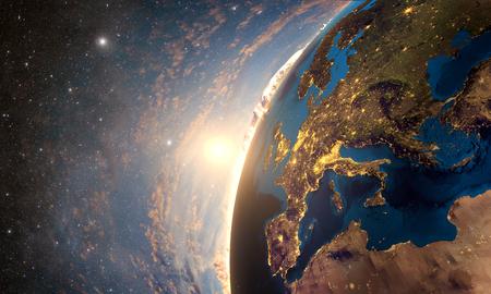 horizonte: Representación 3D de la Tierra colorido detallado, altamente detallada planeta tierra en la mañana