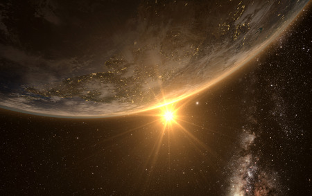 milkyway: earth with Sunrise from space with milkyway in the backgroud