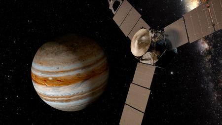 magnetosphere: jupiter and satellite juno, 3D rendering.