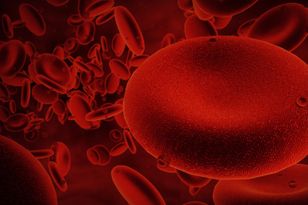 digital background: 3d abstract red blood cells floating,close up,  scientific or medical or microbiological background, 3d render