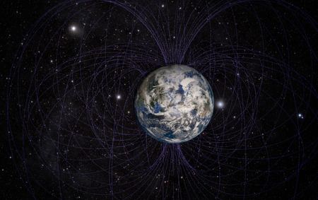 3D rendering of Planet Earths magnetic field.